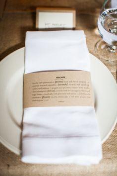 paper cuff menu