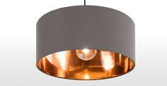 Hue Pendant Shade, Grey & Copper | made.com
