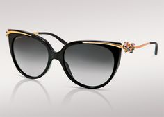 Bulgari's Le Gemme Primavera Sunglasses  with multicolored sapphires flowers on black/YG frame