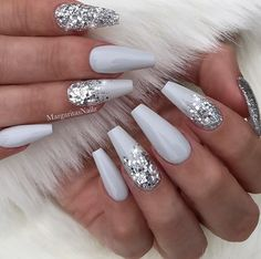 23 Beautiful Nail Art Designs for Coffin Nails: We have found 23 beautiful nail art designs for coffin nails. There is something for everyone, from vibrant colors to manicures that are subtle and elegant. 43 Beautiful Nail Art Designs for Coffin Nails Cute Acrylic Nails, Cute Nails, Acrylic Nails Coffin Grey, White Acrylic Nails With Glitter, Acrylic Nails Coffin Glitter, White Nails With Glitter, Acrylic Nail Designs Coffin, Wedding Acrylic Nails, Blue Acrylic Nails Glitter