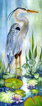 Decorative Pictures With Birds Watercolour Painting By Lyse Anthony Watercolor Bird, Watercolour Painting, Painting & Drawing, Watercolours, Watercolor Tattoo, Blue Heron, Silk Painting, Animal Paintings, Bird Art