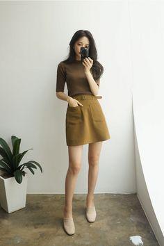 korean fashion green yellow dark dull shirt brown skirt