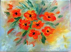 Oil painting Flowers art Still life painting Flower Painting Poppy painting Flower Art Floral painting Kitchen wall art Home decor wall art Oil Painting Flowers, Oil Painting On Canvas, Watercolor Flowers, Watercolor Paintings, Canvas Art, Poppy Flower Painting, Poppies Art, Knife Painting, Flower Paintings
