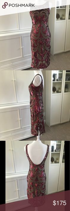 """Needle & Thread Beaded Sequin Embellished Dress 4 Sequin and bead embellished dress with sheer insets. I love the below the knee length with the slits going up either side. This is a 4, it fits but runs a little small. There is stretch to the inner dress, but none to the outer beaded dress. The inner dress also features adjustable straps. The dresses are connected, but those threads could be snipped. No flaws or missing beads!  Shoulder to hem: 42"""" Armpit to armpit: 16"""" Waist: 13.5"""" Hips…"""