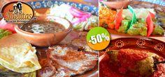 Las Adelitas - $135 en lugar de $269 por 1 Exquisito Combo Mexicano Adelitas con Carne Asada + Chile Relleno + Taco de Pollo + Quesadilla + Nopal Asado + Frijoles Rancheros + Guacamole  + Arroz. Click: CupoCity.com