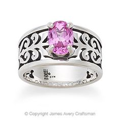 Perfect ring to honor Hunter's birth! Birthstone ring from James Avery, called Adoree Ring with Pink Sapphire.