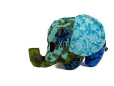 Elephant Plushie Blue and Green Floral by SquirrelNap on Etsy, $14.00