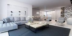 tableau moderne grand format dans le salon gris clair et blanc minimaliste