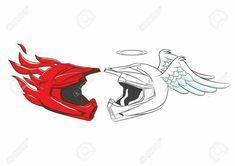 Teufel und der Engel Motocross Helm - Cars and motorcycles Dirt Bike Tattoo, Motocross Tattoo, Motocross Helmets, Motorcycle Couple, Motorcycle Art, Bike Art, Biker Tattoos, Motorcycle Tattoos, Body Art Tattoos
