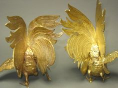 Mom's 1960s SOLID BRASS Fighting cocks or Roosters -- large set of two. $110.00, via Etsy.