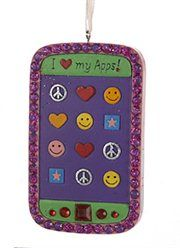 """I Love My Apps"" Cell Phone Christmas Ornament - embellished with red rhinestones and glitter"