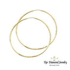 14k Yellow Solid Gold 1 5mm Satin D C Endless Hoops 55mm Weight 2 Grams