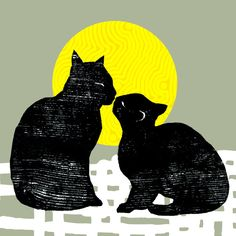 """Kittehs...kittehs who love kittehs...are the luckiest kittehs in the world. """"the kiss"""" by Randi Antonsen"""
