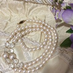 "Elegant Necklace of Pearls with Crystals Pearls with Crystals, gold Beads, and rhinestones as spacers. Approximately 28""L. A very elegant necklace. Jewelry Necklaces"