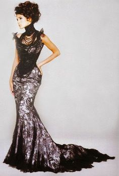 Incredible long gown with pearls corset