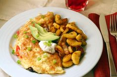 Southwestern Omelette with Fried Plantains