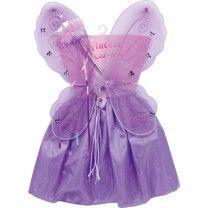 """Wie aus einem Märchen wirkt dieses fliederfarbene Kostüm, bestehend aus Satin-Tüll-Rock mit kleiner Rüschen-Rose, Zauberstab mit Glitzerspitze und wunderschönen Feenflügeln mit glitzernen Schmetterlingen. """"Perlenketten"""" und sanft schimmernde Bänder zieren Rock und Zauberstab. ca. 55 x 45 x 2 cm"""