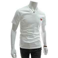 (GTS13-WHITE) Slim Fit Leather Patched Pocket Double V-neck Short Sleeve Tshirts