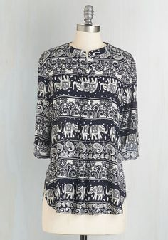 Elephant of Surprise Top. Surprise parties are you favorite kind of celebration, so its only fitting that you attend in your favorite paisley top! #black #modcloth