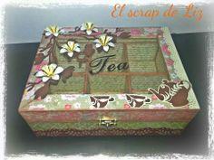 Scrapbooking, altered box, caja para el te alterada, El scrap de Liz