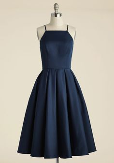 Beloved and Beyond Midi Dress in Navy - Blue, Wedding, Party, Daytime Party, Bridesmaid, Fit & Flare, Sleeveless, Spaghetti Straps, Spring, Woven, Best, Halter, Long, Variation, Wedding Guest, Prom, Graduation, Vintage Inspired, Cocktail, Top Rated, Homecoming, Saturated