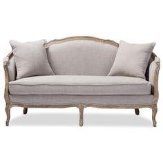 Baxton Studio Corneille French Country Weathered Oak Beige Linen Upholstered 2-Seater Sofa Affordable modern furniture in Chicago, classic living room furniture, modern sofas & loveseats, cheap sofas