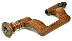 """French Bit Brace. Carved Cormier Wood. Circa 18th Century. 16-3/4""""."""
