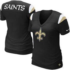 Nike New Orleans Saints Ladies Fashion Football Premium T-Shirt - Black