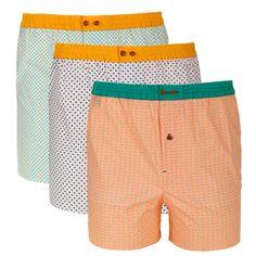 Trio de caleçons à motifs vert/orange, bleu/jaune et orange/vert