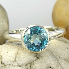 14K Recycled White Gold Sky Blue Zircon Solitaire Ring - Your ring size on Etsy, $429.00