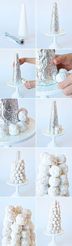 Snowy wintry trees made out of donut holes