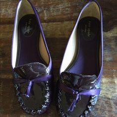New Kate Spade dark purple loafers. Never worn Kate Spade loafers. These are super cute and still have the size stickers on the bottom. kate spade Shoes Flats & Loafers
