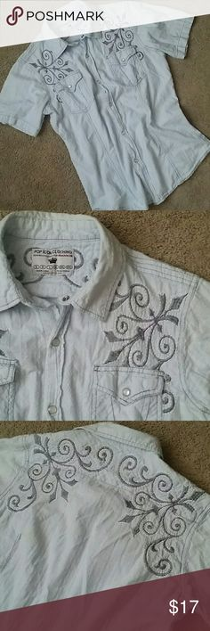 POP ICON BUTTON DOWN Light blue with gray embroidered design Snap close Double chat usable pockets No rips or stains  Smoke free home POP ICON CLOTHING Shirts Casual Button Down Shirts