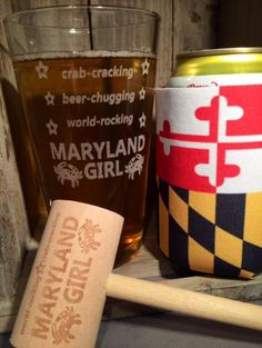 Crab-Cracking, Beer-Chugging, World-Rocking MARYLAND GIRL! Pint Glass & Crab Mallet  How many Maryland Girls will be doing this over the weekend?   NEW design available this weekend online for $5.95. Mallet is $1.50 and $3.95 for the Koozie.   Cheers to the weekend!    Keeping it spicy~ Ginger