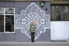 Urban Jewelry: New Lace Street Art by NeSpoon Refined Graffiti at it's best - Shireen Thomas Urban Jewelry, Amazing Street Art, Colossal Art, Lace Patterns, Street Art Graffiti, Land Art, Street Artists, Public Art, Public Spaces