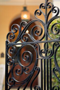 Entry Gate, Charleston, SC© Doug Hickok All Rights Reserved Más Wrought Iron Stairs, Wrought Iron Decor, Iron Wall Decor, Iron Gate Design, House Gate Design, Fence Design, Art Fer, Decorative Metal Screen, Iron Garden Gates