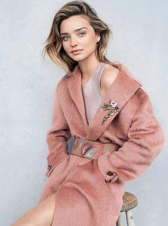 Miranda Kerr in pink coat.