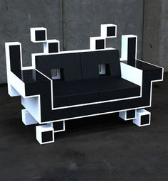 Do you have space for the coolest couch ever? The Space Invaders Couch was designed by Igor Chak. He says: The Space Invaders Couch is basically a s Gaming Furniture, Cool Furniture, Furniture Design, Gaming Chair, Gaming Lounge, Retro Furniture, Furniture Ideas, Retro Arcade, Diy Zimmer