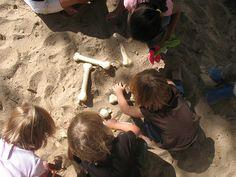 Dinosaur bone excavation. The dinosaur bones are make from both plastic and plaster of paris. (from @kristin :: preschool daze)