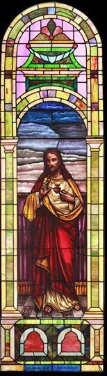 Large Vintage Sacred Heart Church Stained Glass Window DESCRIPTION: Large vintage Romanesque church stained glass window depicting the Sacred Heart.