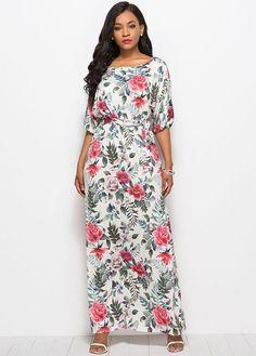 0fef3db6c41 Rose Floral Print Half Sleeves Boat Neck Self Belt Maxi Dress