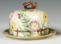 Majolica Light Yellow with Flowers Covered Cheese Dish