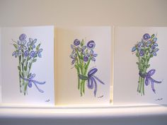 "Watercolor Card Handpainted Stationary ""Blue & Lavender Flowers""Originals Blank With Envelopes betrueoriginals"