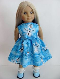 Frozen Inspired Doll Dress and Shoes for the American Girl Doll by TheWhimsicalDoll2