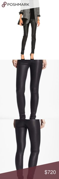 """HELMUT LANG 100% LAMBSKIN LEATHER LEGGINGS PANTS New without tags.it was store display in a major department store fitting room Buttery-soft leather upgrades sleek, street-chic leggings detailed with decorative stitching at the fligh and pockets.  Elastic waistband  Decorative back welt pockets  Cotton lining  Lambskin leather  Professional leather clean LENGTH 40.3"""" INSEAM 31"""" WAIST 14"""" rise 8.4"""" ALL MEASUREMENTS ARE TAKING WITH THE GARMENT LYING FLAT. See Nordstrom website and google…"""
