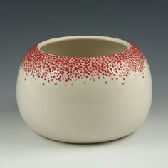 Short Pebble Vase in Red- Small. Inc use of slip trailing dots.