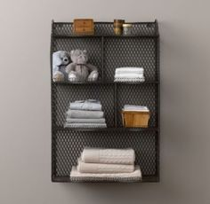 Vintage Wire Cubby Shelf.  Wall storage.  Could be made with a wooden frame and then covered with wire mesh or radiator cover metal.