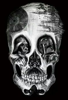 star wars skull; this would be MUCH MORE cooler if it had Luke's face, too, instead of Boba Fett!
