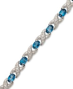 London Blue Topaz (7-1/2 ct. t.w.) and Diamond Accent XO Bracelet in Sterling Silver