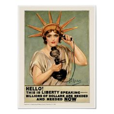 Vintage Statue Of Liberty World War 1 Poster by vintagedesigns